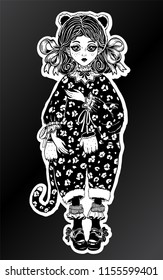 Little girl or a doll in vintage style wild cat black leopard costume pagamas, curly hair. For t-shirt design, print or post card. Steampunk fashion isolated vector illustration. Gothic art.