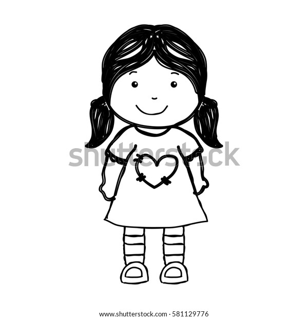 Little Girl Drawing Isolated Icon Stock Vector (Royalty