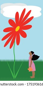 Little Girl in Dress Watering a Giant Flower Illustration Vector