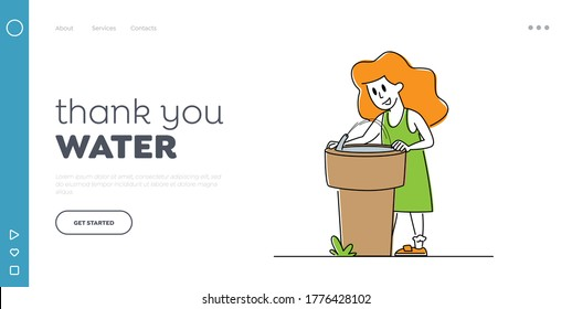 Little Girl Drinking Water on Street Landing Page Template.Character Refreshing Outdoors with Cold Aqua and Wash Face Outside from Street Fountain. Heat, Summertime Weather. Linear Vector Illustration
