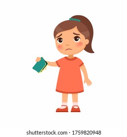 Little girl with empty wallet in hand flat vector illustration. Upset poor child cartoon character. Poverty, unemployed person in need. Frustrated little kid isolated design element on white