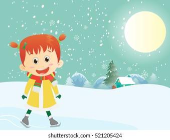 little girl enjoying outdoor-winter