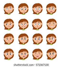Little girl face expression, set of cartoon vector illustrations isolated on white background. Set of kid emotion face icons, facial expressions.