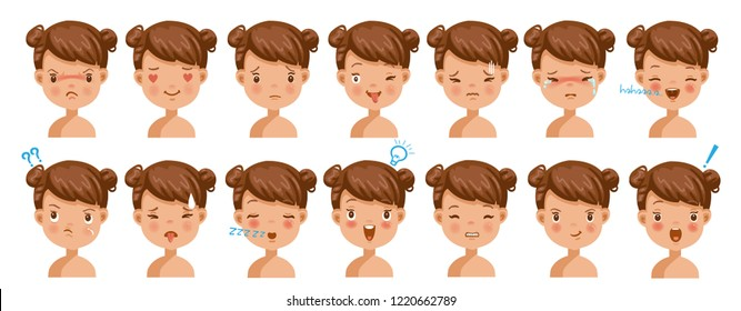 Little girl  facial emotions set. Child face with different expressions.  Variety of emotions children. Female heads show a variety of moods and differences. Schoolboy portrait avatars.Isolated vector