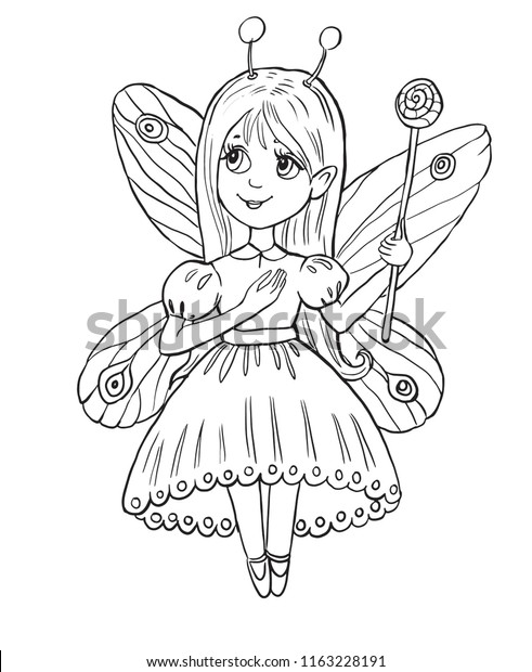 Little Girl Fairy Costume Coloring Page Stock Vector (Royalty Free ...