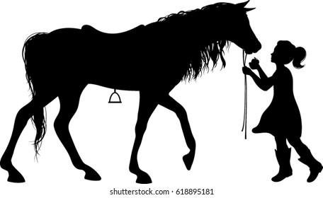 Little Girl Feeding Horse Silhouette - Vector Image