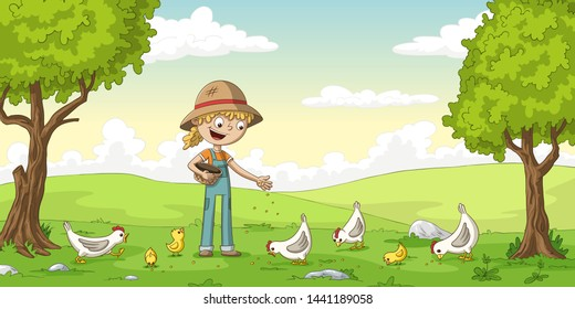 Little girl feeds some chickens and chicks. Cartoon character illustration.