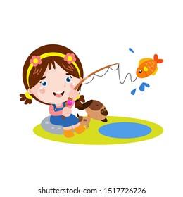 Little Girl Fishing with Dog Cartoon Vector Template Design Illustration
