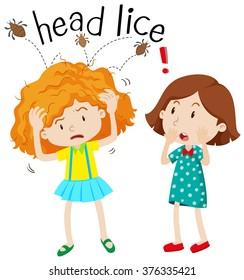 Little girl having head lice illustration