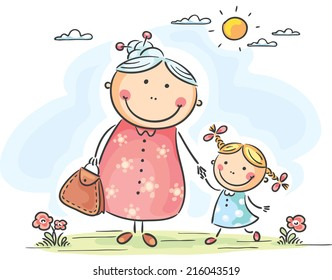 Little girl and her granny on a walk