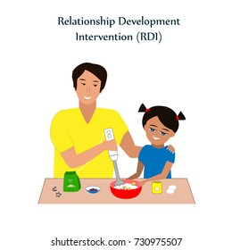 Little girl and a his father baking cookies. Relationship Development Intervention or RDI technique, the successful method used for teaching kids with ASD or autism.