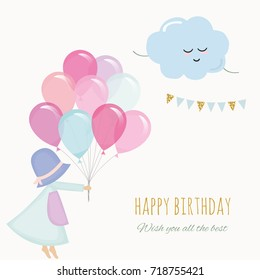 Little girl holding balloons. Birthday greeting card template.