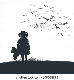 little girl is holding a bear in her hand and looking into the distance. A bird flock overhead