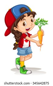 Little girl holding carrot illustration