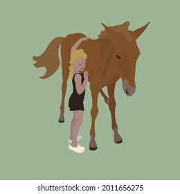 Little girl hugs a foal. Small girl and colt. Cute flat illustration about friendship between child and pet. Little horse and child