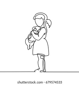 Little Girl hugs puppy. Continuous line drawing. Vector illustration on white background