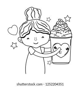 little girl with ice cream kawaii character