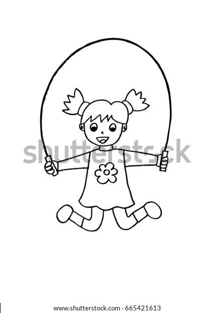 Little girl jump. Doodle sketch.