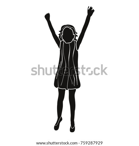 5e468dc8 Little Girl Jumping Stock Vector (Royalty Free) 759287929 - Shutterstock