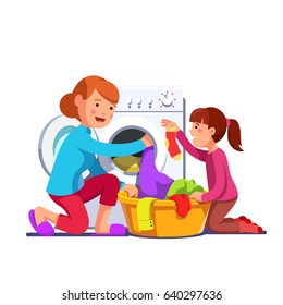 Little girl kid helping her mother sorting and loading laundry to washing machine from clothes basket. Mum & daughter doing housework chores together. Flat style vector illustration isolated on white.