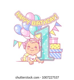 Little girl lay near large number one. Baby's first year symbol. Toddler's birthday party. Happy smiling girl wearing tutu. Air balloons, festive garland, gift boxes. Vector illustration.