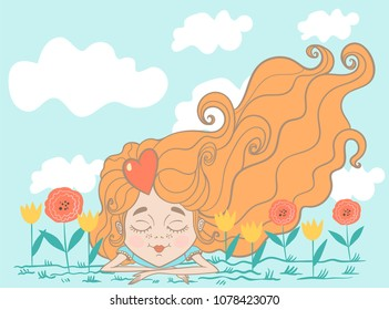 little girl lies on the grass among the flowers, cute girl