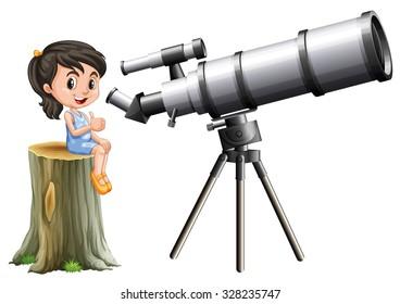 Little girl looking through telescope illustration