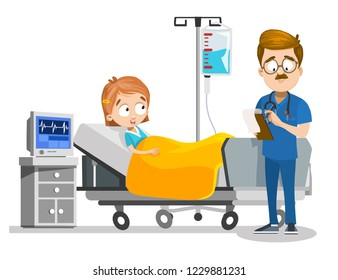 Little girl lying in intensive care unit. Doktor in blue uniform diagnoses young patient. Male physician examining child in hospital. Healthcare and treatment in modern clinic vector illustration