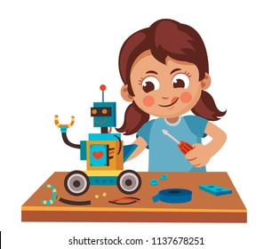 little girl making  robot  from constructor, Children and Hobbies, creates a model, fine motor skills. Cartoon vector illustration.