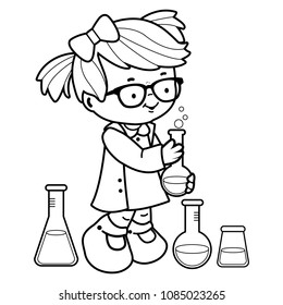 Little girl making science experiments. Vector black and white coloring page.