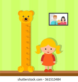 Little girl measuring height against wall in room, vector illustration