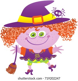 Little girl in mischievous mood, with green eyes and messy red hair while wearing a witch costume. The witch costume has big purple hat, a spider on it, a broom, shoes and funny dress and panties.