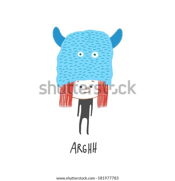 Little girl with a monster hat, vector illustration