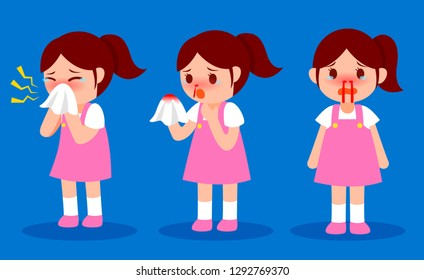 Little girl nosebleed, She was afraid of blood and crying. Vector illustration isolated on EPS10.