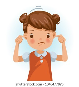 Little girl not listen earplugs, red shirt. Are doing gestures. Frustrated, displeased, face sullen with bad emotions. Cartoon character illustration Isolated vector on a white background.
