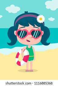 Little girl on the beach in summer