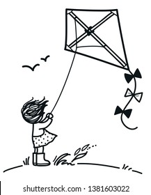 Little girl on a hill flying a kite on a windy day, with windswept hair cute black and white pen and ink style simple doodle vector cartoon hand drawn illustration. Children decor, coloring book page