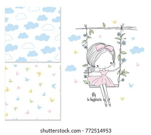 Little girl on the swing. Nursery vector illustration and 2 seamless patterns. Use for print, surface design, fashion kids wear