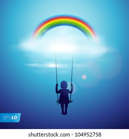 Little girl on a swing under the rainbow in a clouds, vector Eps 10 illustration.
