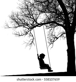 Little girl on swing under a tree.Realistic silhouette of a girl swinging on a swing under a tree.(Vector illustration).Eps10
