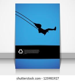 Little girl on a swing, vector Eps 10 illustration.