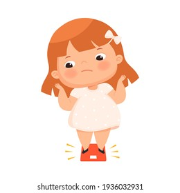 Little Girl with Overweight and Body Fat Standing on Scale Measuring Weight Vector Illustration