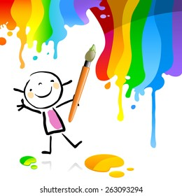 Little girl painting with spectrum colors, cute smiling artist kid. Happy kids doodle style sketchy vector illustration.