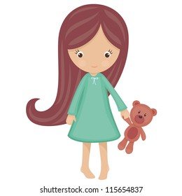 Little girl in pajamas with teddy bear