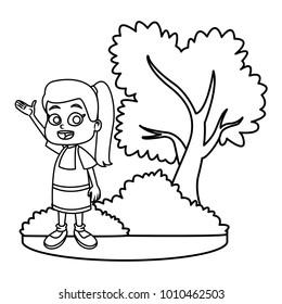 Little girl at park cartoon