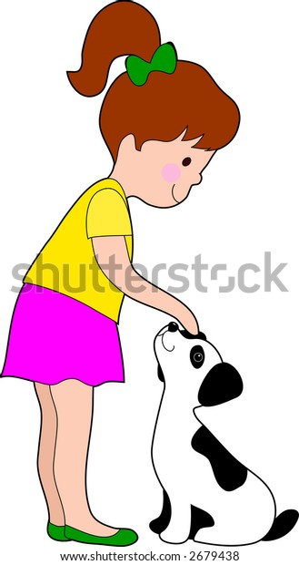 A little girl patting a young dalmation pup