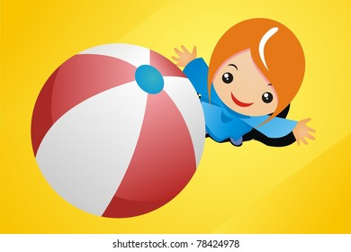 Little girl playing with beach ball