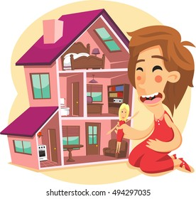 little girl playing with a doll house cartoon illustration
