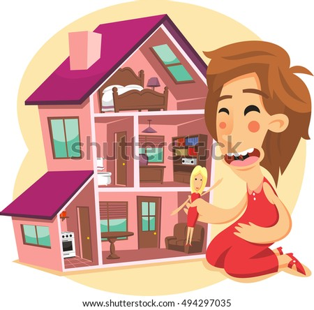 Little Girl Playing Doll House Cartoon Stock Vector Royalty Free