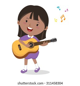 Little girl playing guitar. Vector illustration of a cheerful girl playing guitar and singing.